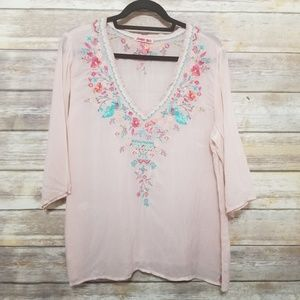 Johnny Was Blush Silk Floral Embroidered Shirt L P